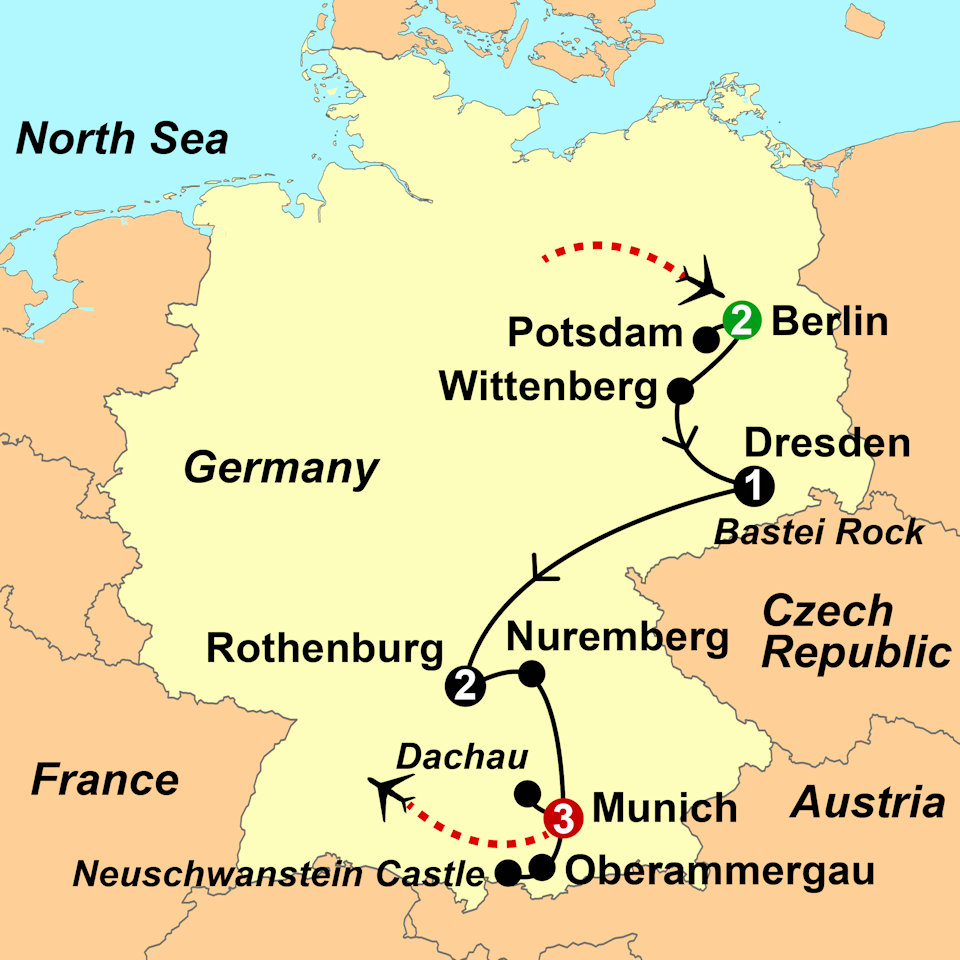 Map Of Munich Germany Map Germany Berlin to Munich 2018   Interlude Tours Map Of Munich Germany