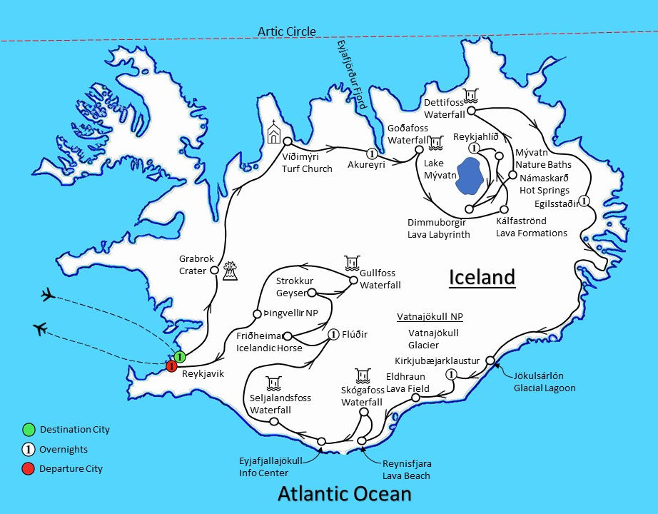 Geysers & Glaciers: Iceland Map - Interlude Tours